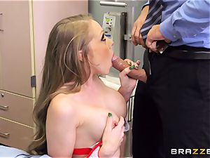 filthy nurse Shawna Lenee drills a docs thick jizz-shotgun