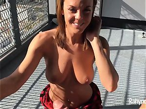 Rahyndee James dark-haired stunner oral pleasure bent Over Balcony