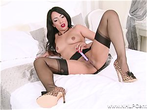red-hot black babe milks off toying in nylons girdle high-heeled slippers
