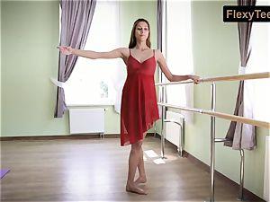 kinky gymnast Inessa in a red dress