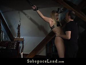 blond bound and gagged disciplined with suck jizz shot