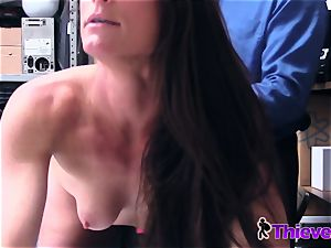 Sofie is placed on her knees to deepthroat officers lollipop when caught stealing