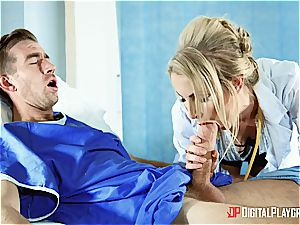 warm light-haired nurse gets a massive facial by a patient
