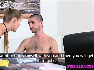 FemaleAgent yam-sized cumshot glazes agents poon