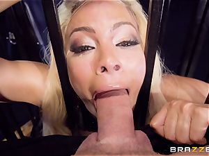 encaged lubed up babe Luna star beaten sack deep in the rump