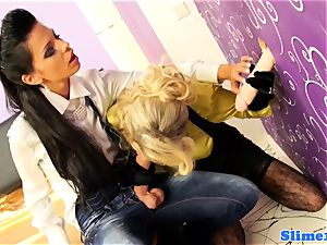 Bukakke lesbians cumcovered at the gloryhole