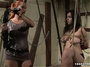 crazy stunner with thick bra-stuffers gets porked by her domme
