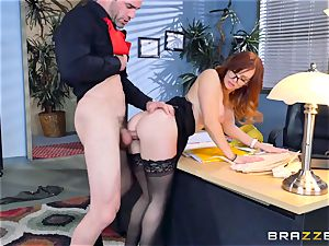 Dani Jensen playing with manmeat in the office