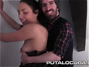 Latina with puny milk cans ready for the short man inside her