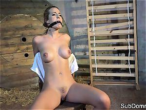 gagged stunner ejaculations during restrain bondage