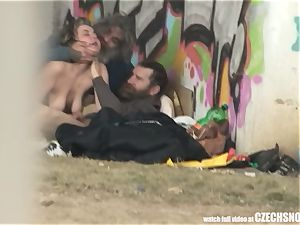 Homeless three-way Having romp on Public