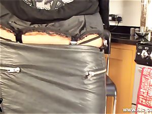 blonde cougar Lucy Zara in all leather fucktoys her humid snatch