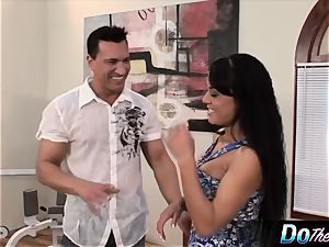 Mahina Zaltana pummels in a porno guy for her husband