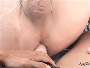 Dana mistreats her boy with a big fake penis