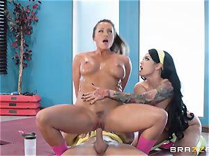 molten gym puss pulverize with babes Abigail Mac and Katrina Jade