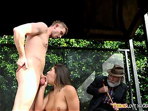 jokey situation of snatch tucked daughter-in-law and her grandfather witnesses at bus stop - Abella Danger and Bill Bailey