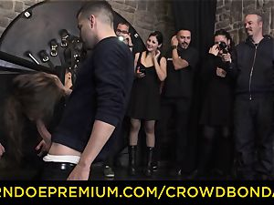 CROWD restrain bondage - extraordinary sadism & masochism nail wheel with Tina Kay