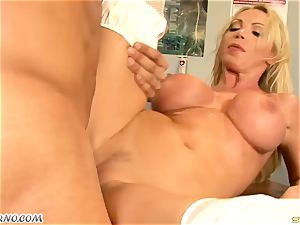enormous breast mummy dr. Nikki Benz takes a immense penis in the health center