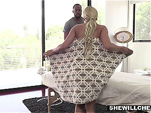 chesty Latina wife cheats with the gifted ebony masseuse