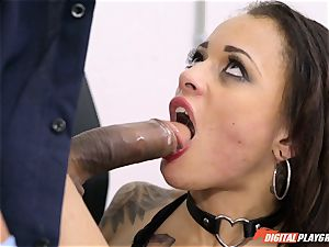ultra-kinky Holly Hendrix checked by policeman in the bum