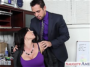 bombshell brown-haired Kendra eagerness penetrating in the office