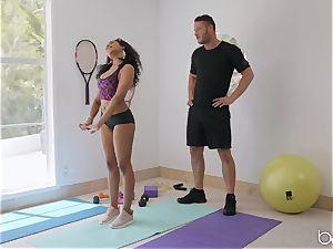 interracial pummel with Jenna J Foxx after molten yoga