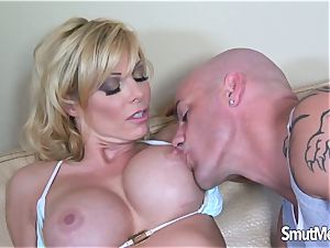 cool platinum-blonde cougar sits on ginormous schlong