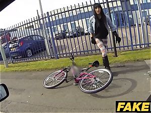 fake Cop hot cyclist with humungous udders and yummy rump
