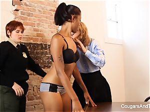 luxurious dark-hued cop screws her 2 coworkers