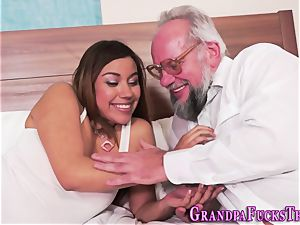nubile blows aged mans pipe