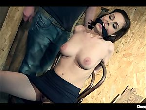 Antonia Sainz chair-tied cleavegagged unclothed vibrated
