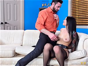 horny Katrina Jade juggling on a gigantic man rod