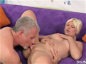 platinum-blonde female takes big fuck-stick and facial cumshot