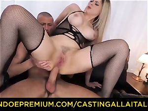 casting ALLA ITALIANA - huge-titted Italian blonde bum drilled