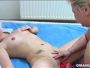 super-naughty grandma loves girly-girl hook-up With faux-cock