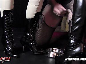 Femdoms spandex dominate tag crew sissy face ravage belt dick