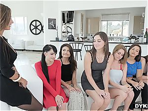 Hopeful lesbian applicants lining up for fuckbox evaluation