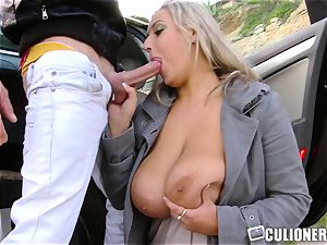 Hillside nailing with big-chested Krystal fast