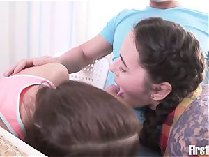 amazing Russian 3some with 2 insatiable teens girl college girls and their neighbor