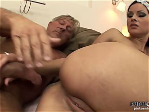 dark-haired superslut gets boinked stiff by an old stud