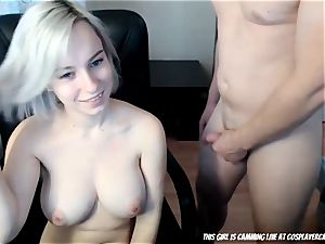 The blond little whore inhaling...