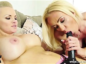 insane light-haired rides hefty strap on dildo then gets nailed by massager