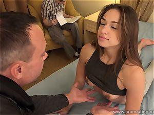 Sara Luvv Cuckolds Her spouse and Makes him gargle salami
