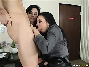 trampy office bi-otches Audrey Bitoni and Aletta Ocean entice expert worker