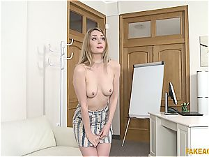 platinum-blonde cutie owns the agent with her amazing boobies and pinkish vagina