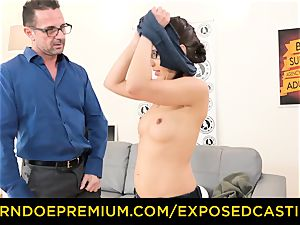 unsheathed audition - nice nerdy babe nailed on casting